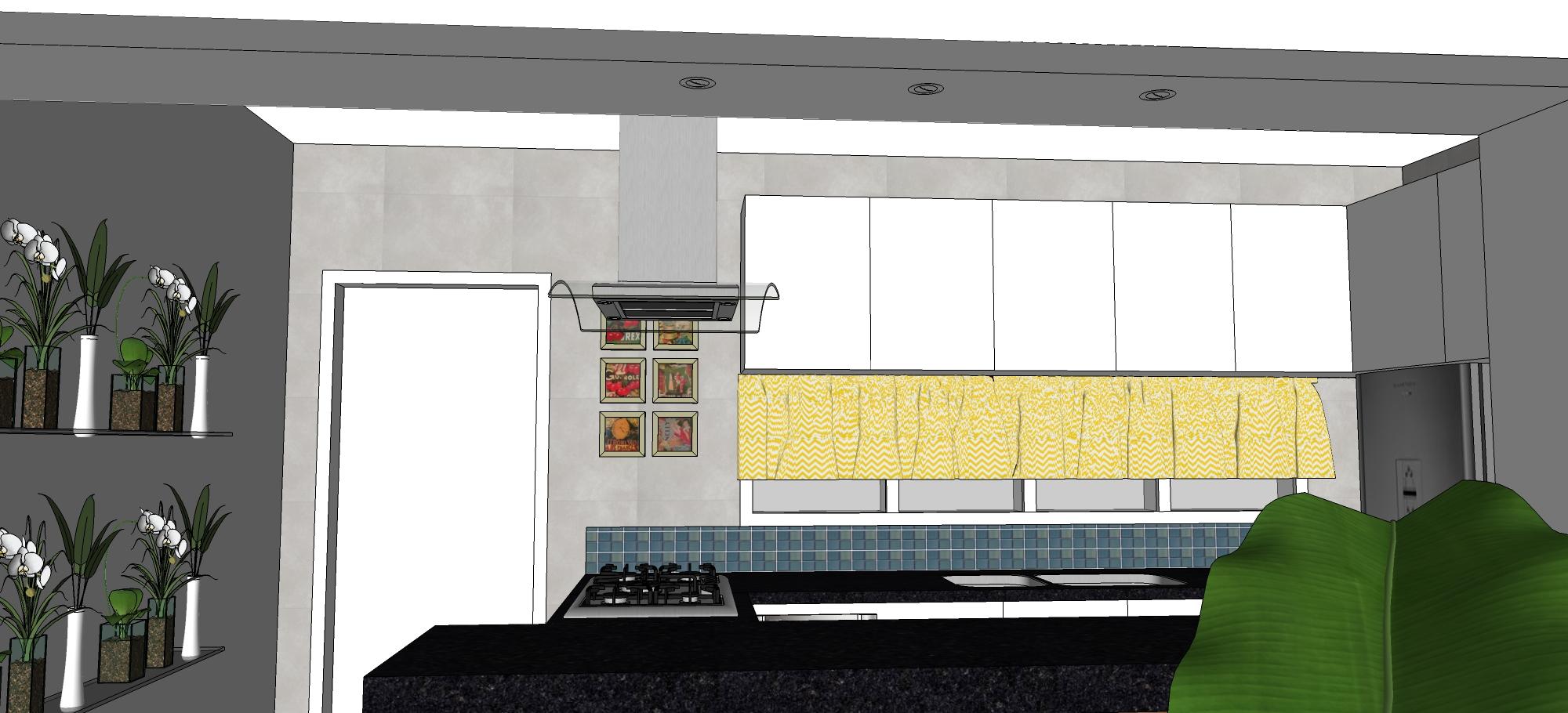 Cozinha vista da sala de jantar. Detalhe dos spots embutidos na caixa  #A58E26 2000x910