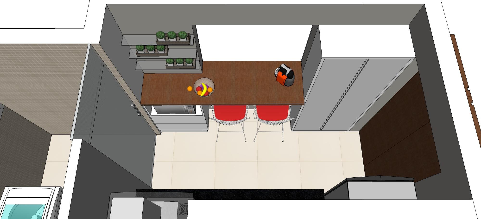 Parede do passa pratos. Armário alto e bancada com armário inferior  #AC211F 2000x910