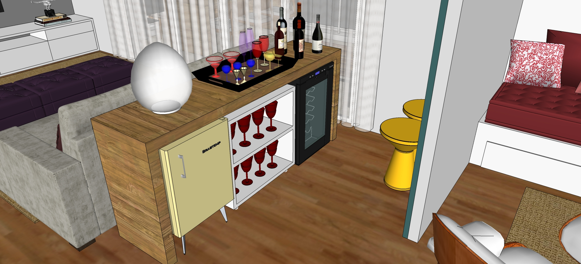 Sala De Estar Karaoke Bar ~ Proposta sala de estar + escritório + terraço – Fabiana P