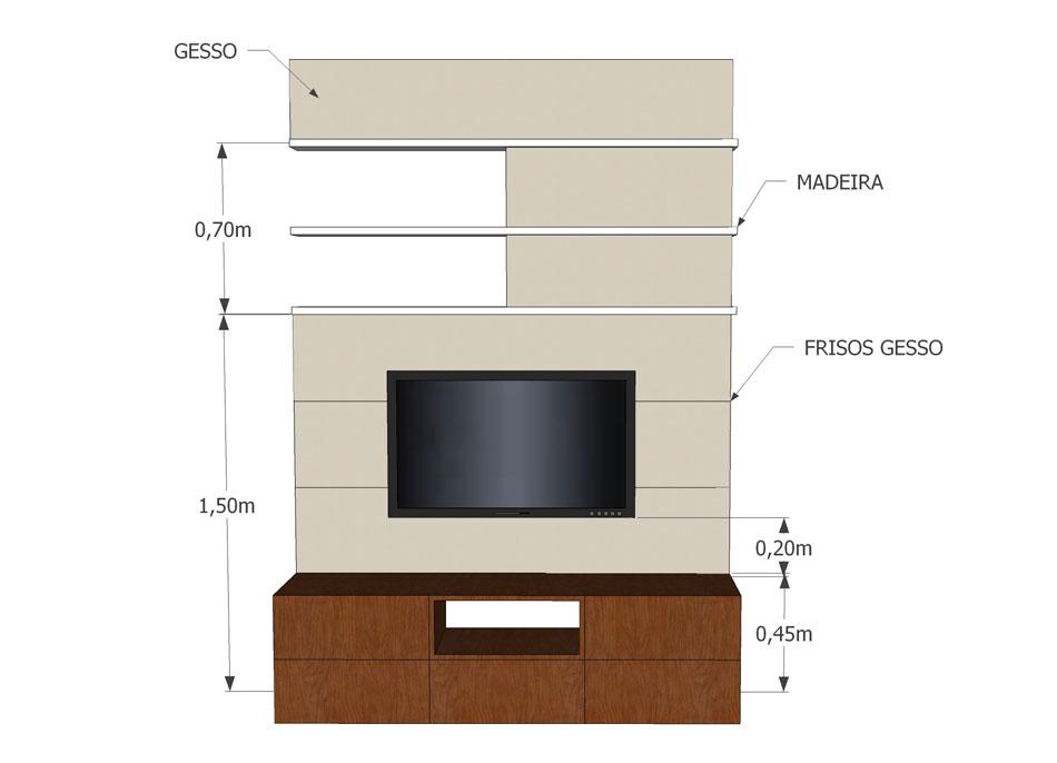Altura Padrao De Tv Na Parede Sala ~ Sala de estar + jantar – Daiana M – KzaBlog  Casa e Decoração