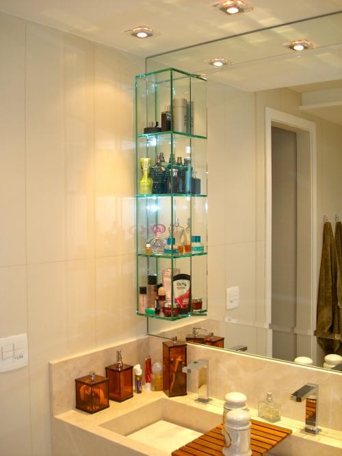 Nichos de vidro fixados no espelho do banheiro « Decoração « Arquitetura + In -> Nicho De Banheiro De Gesso