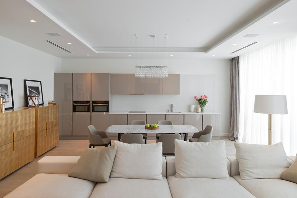 кухня-гостиная зонирование фото