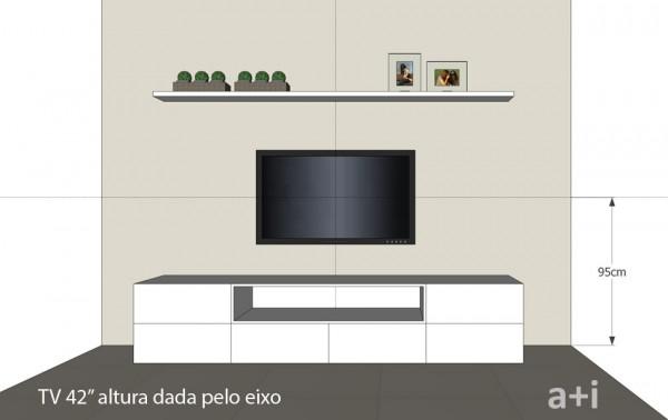 Altura da TV medida do piso até o eixo do aparelho