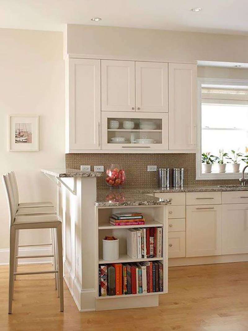 Cozinha: Armário com moldura em relevo
