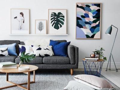 sala em azul e cobre